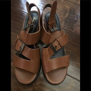 Robert Clergerie Brown Leather Wedge Shoes